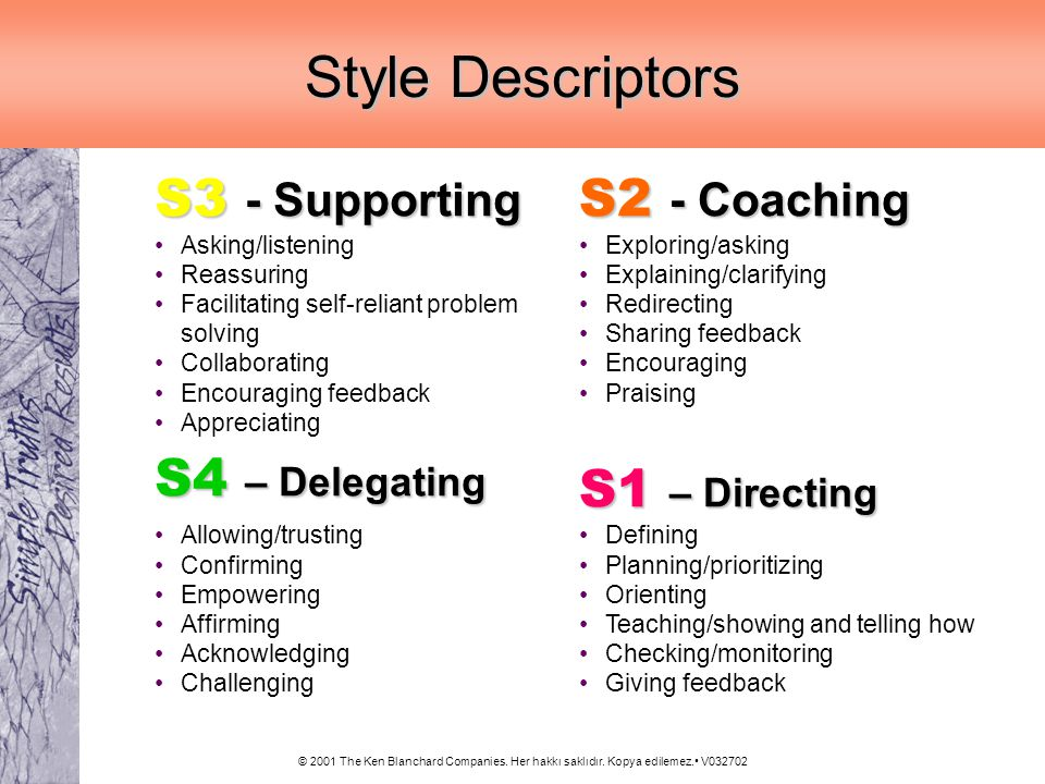 Style Descriptors S3 - Supporting S4 – Delegating S2 - Coaching