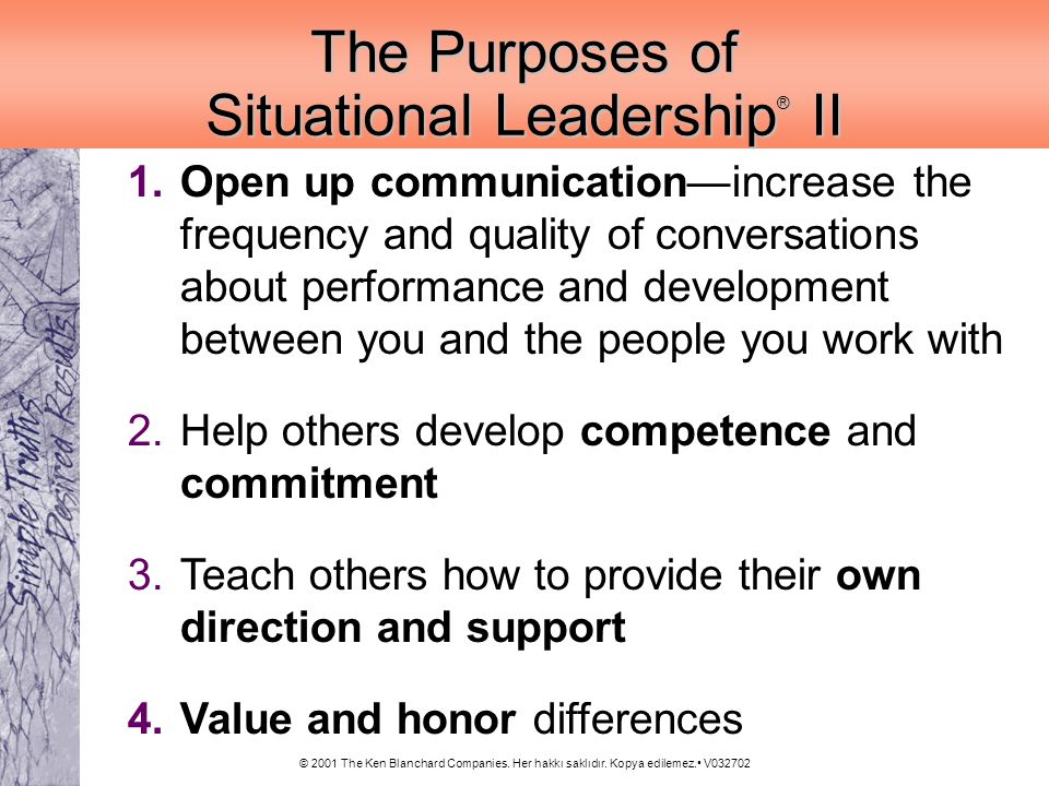 The Purposes of Situational Leadership® II