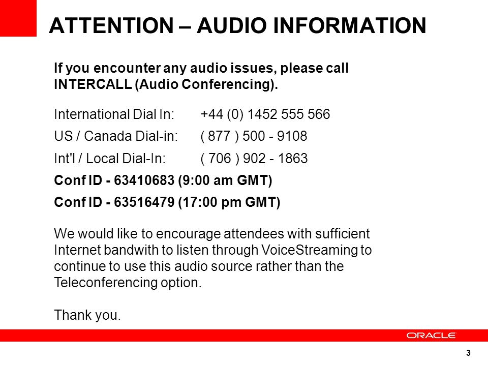 ATTENTION – AUDIO INFORMATION