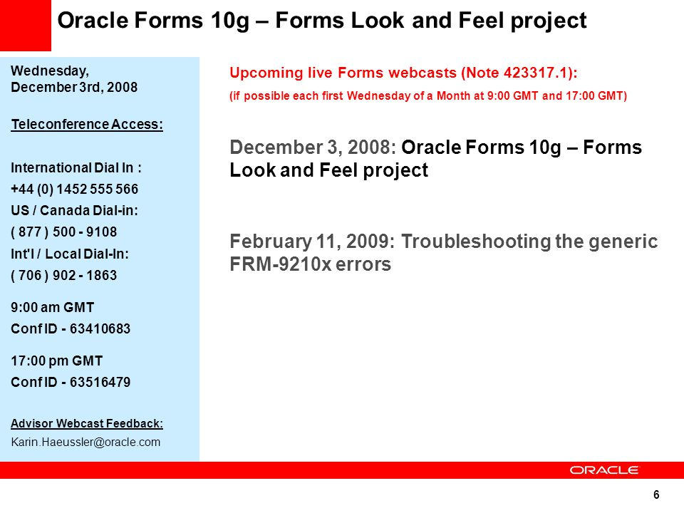 Oracle Forms 10g – Forms Look and Feel project