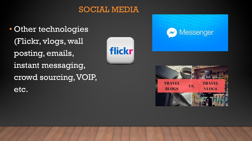 Social media Other technologies (Flickr, vlogs, wall posting,  s, instant messaging, crowd sourcing, VOIP, etc.