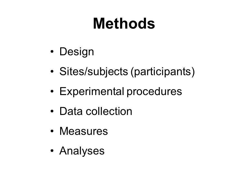 Methods Design Sites/subjects (participants) Experimental procedures