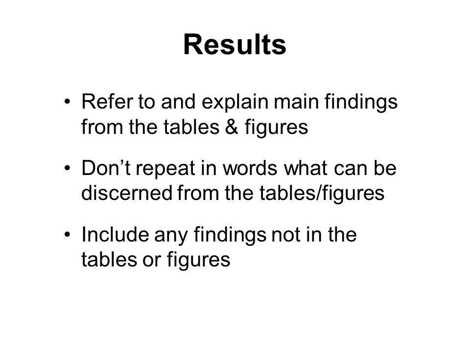 Results Refer to and explain main findings from the tables & figures