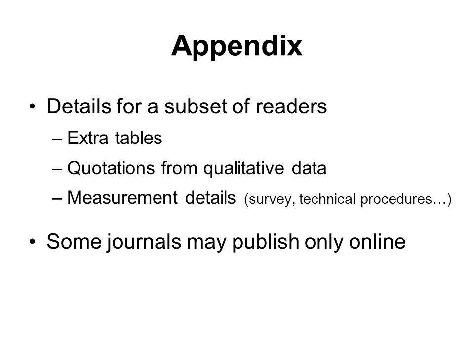 Appendix Details for a subset of readers