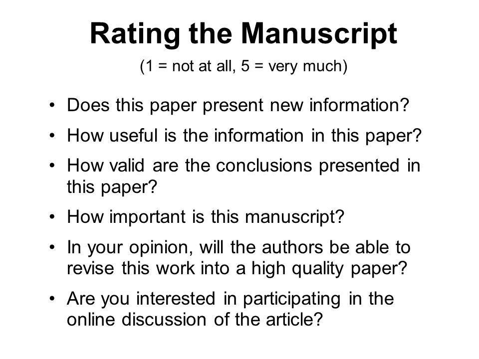 Rating the Manuscript (1 = not at all, 5 = very much)