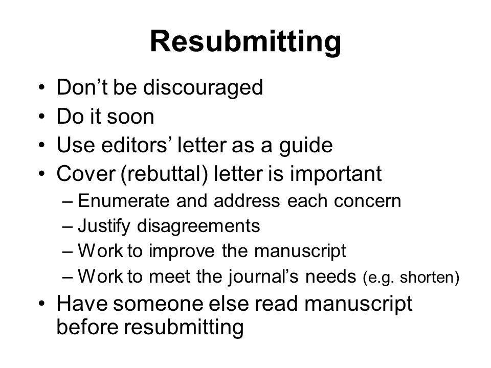 Writing Reviewing a Research Paper ppt download – Resubmission Cover Letter