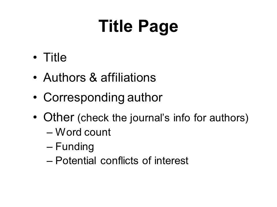 Title Page Title Authors & affiliations Corresponding author