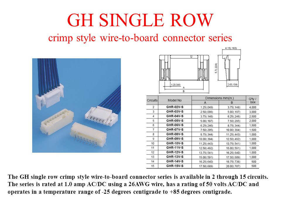 GH SINGLE ROW crimp style wire-to-board connector series