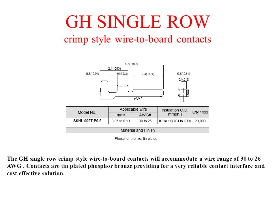GH SINGLE ROW crimp style wire-to-board contacts