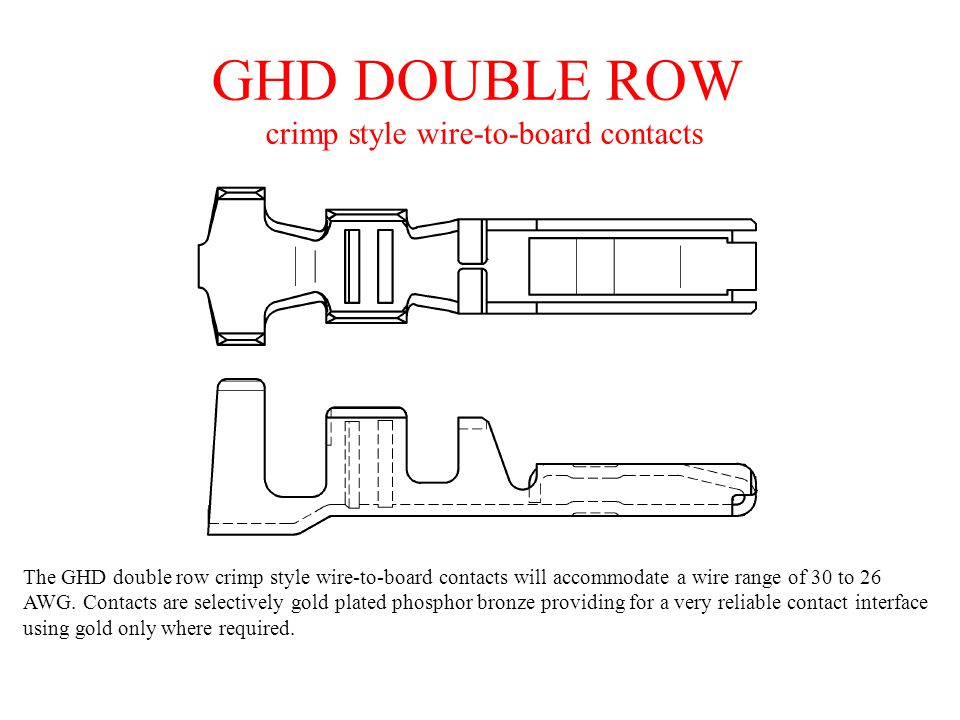 GHD DOUBLE ROW crimp style wire-to-board contacts