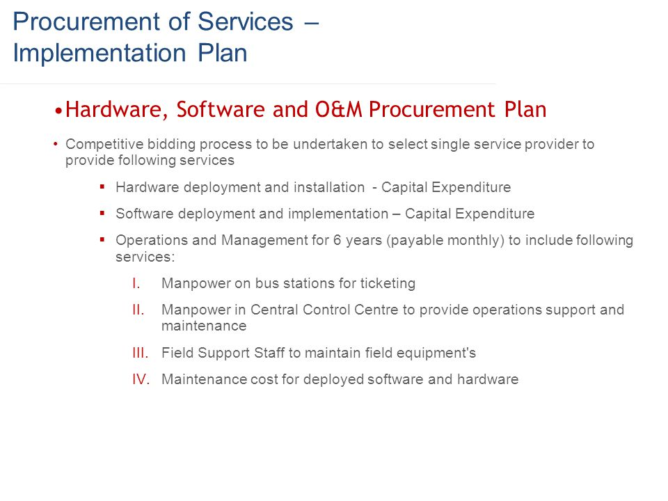 Procurement of Services – Implementation Plan