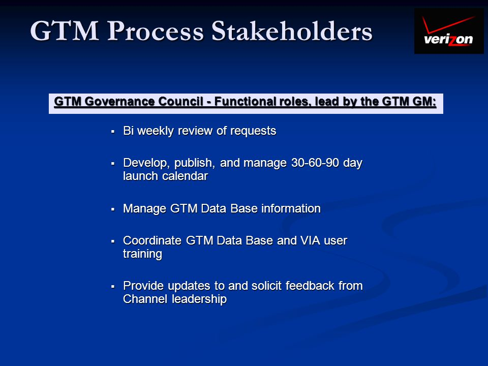 GTM Process Stakeholders