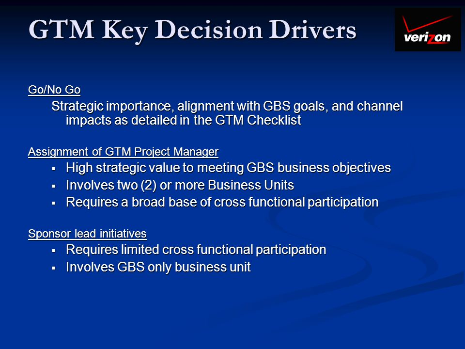 GTM Key Decision Drivers