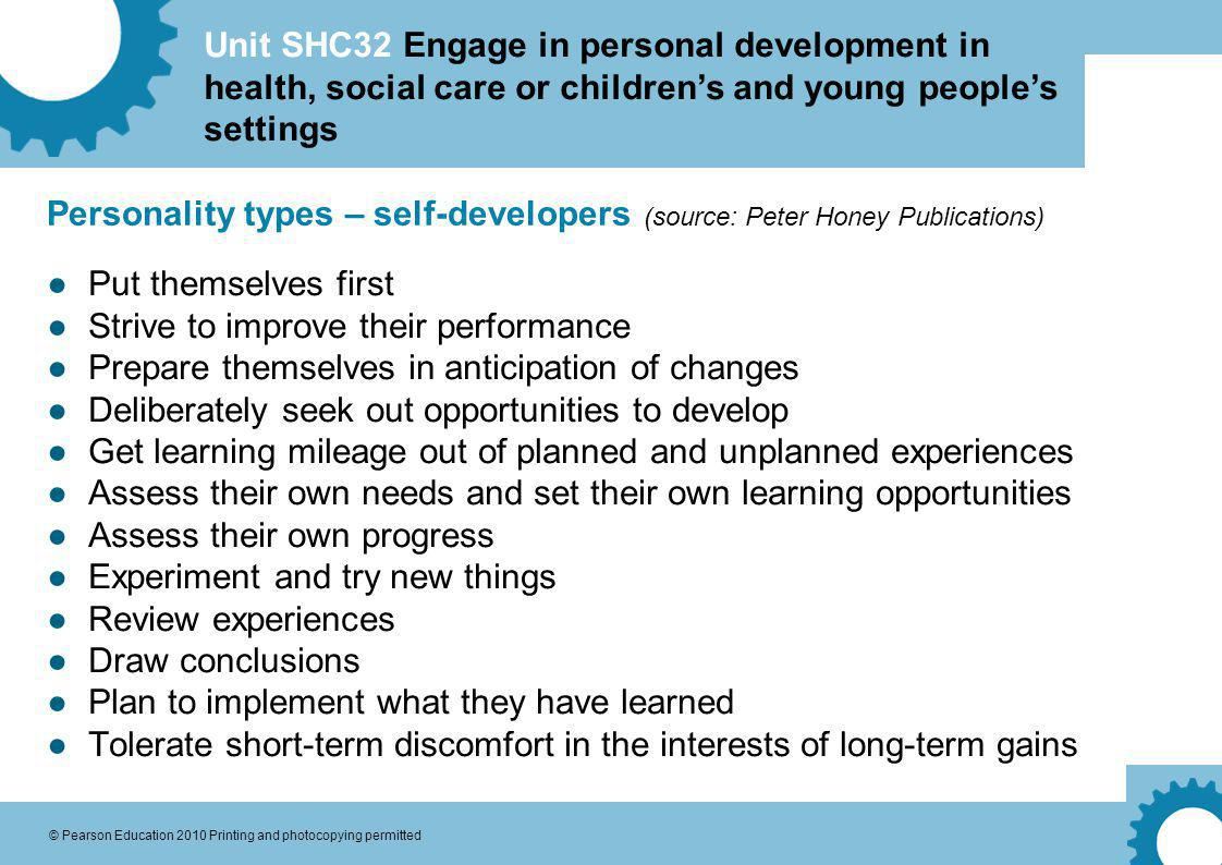 Personality types – self-developers (source: Peter Honey Publications)