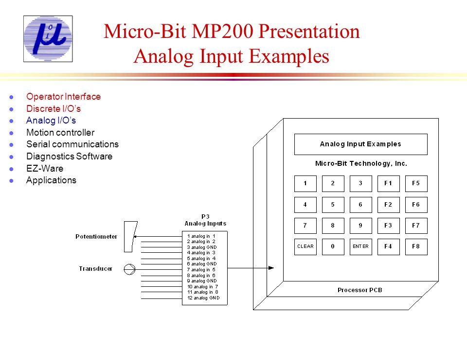 Micro-Bit MP200 Presentation Analog Input Examples