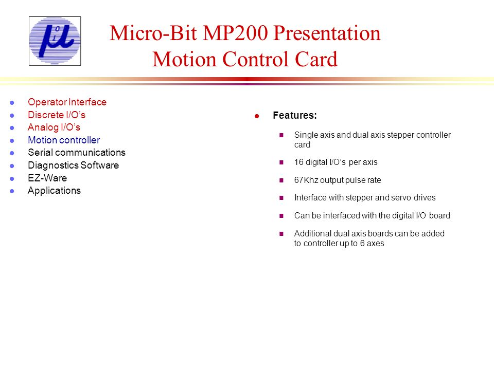 Micro-Bit MP200 Presentation Motion Control Card
