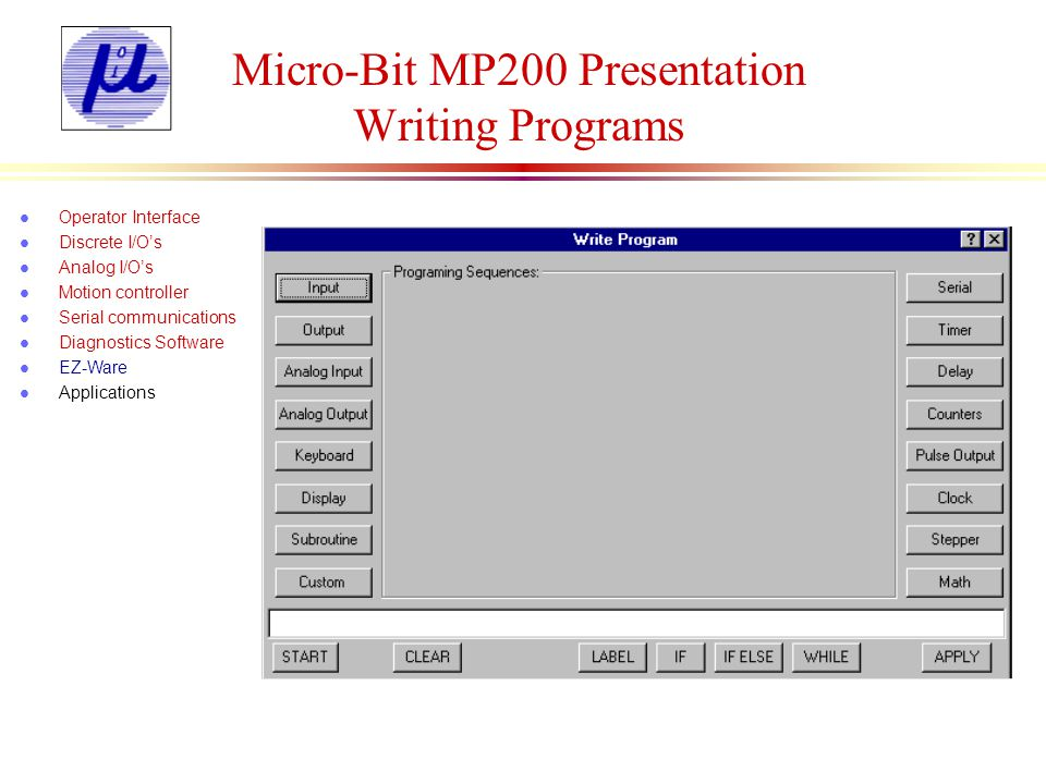 Micro-Bit MP200 Presentation Writing Programs
