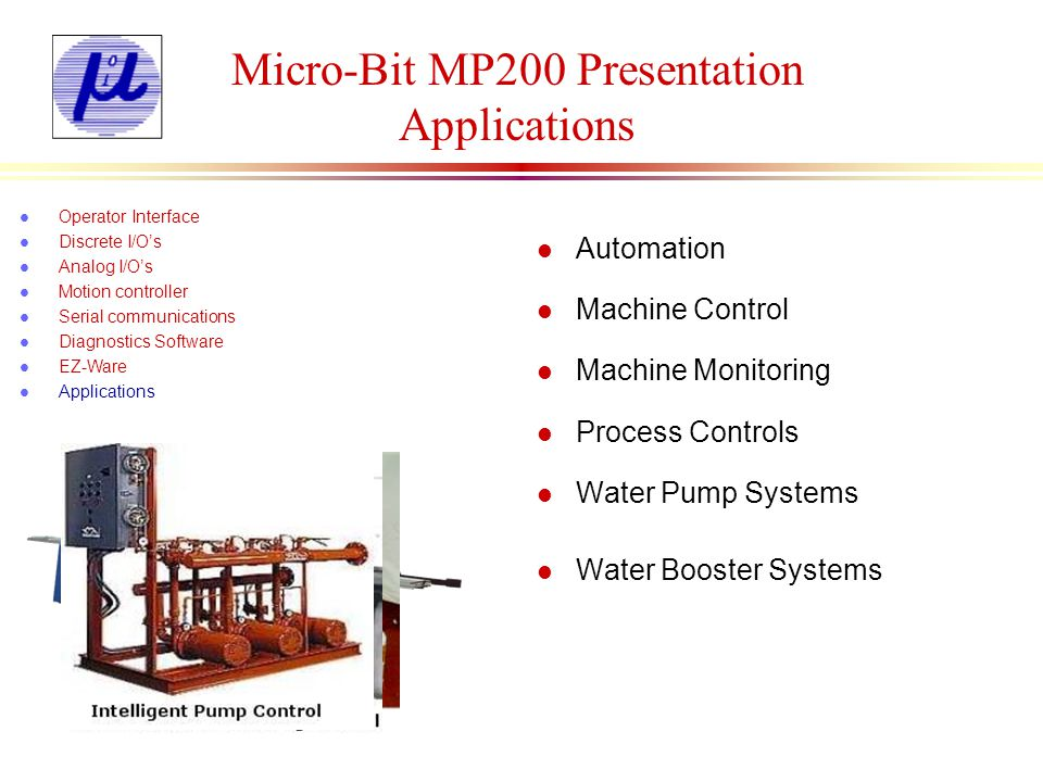 Micro-Bit MP200 Presentation Applications