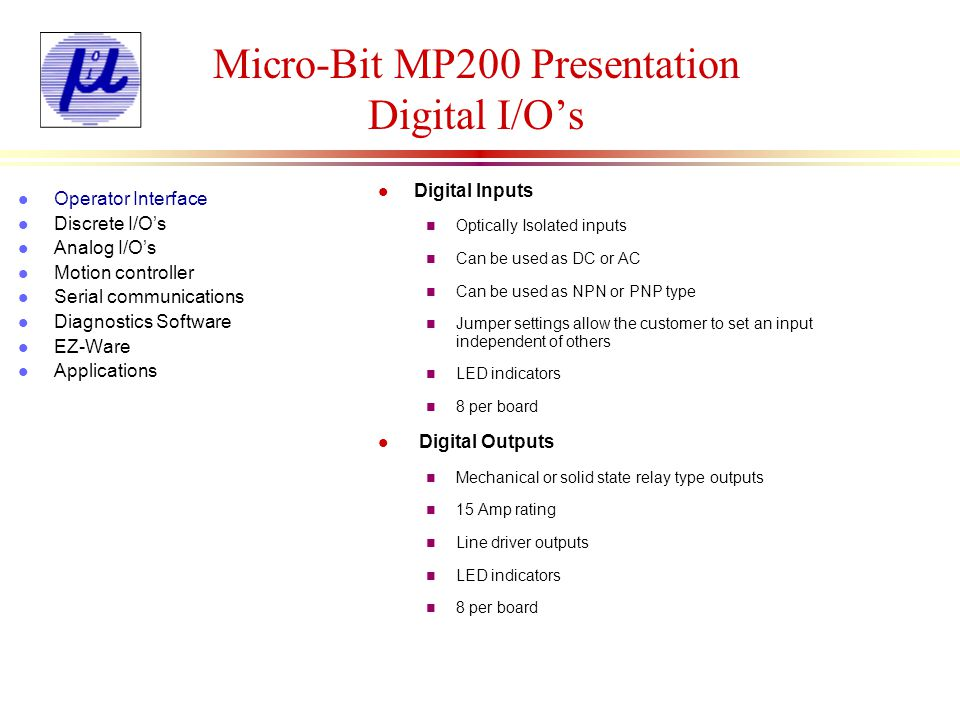 Micro-Bit MP200 Presentation Digital I/O's