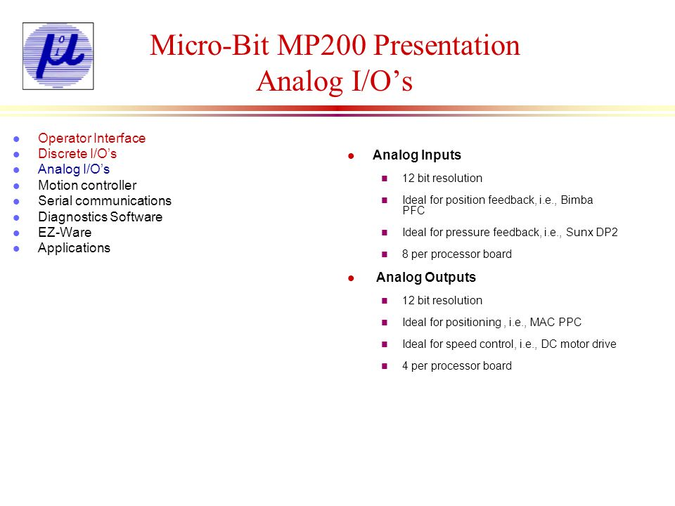 Micro-Bit MP200 Presentation Analog I/O's