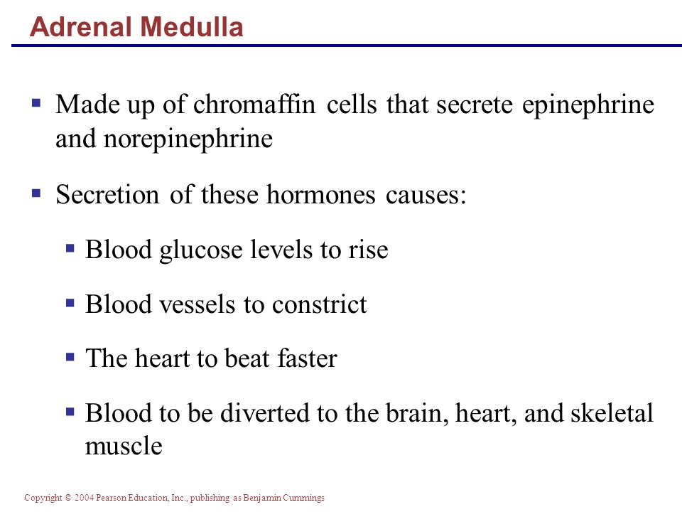 Secretion of these hormones causes:
