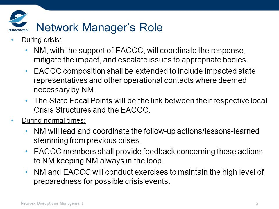 Network Manager's Role