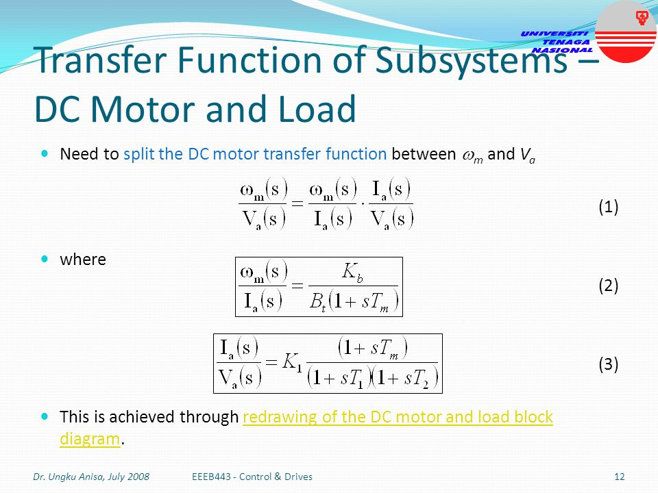 Transfer Function of Subsystems – DC Motor and Load