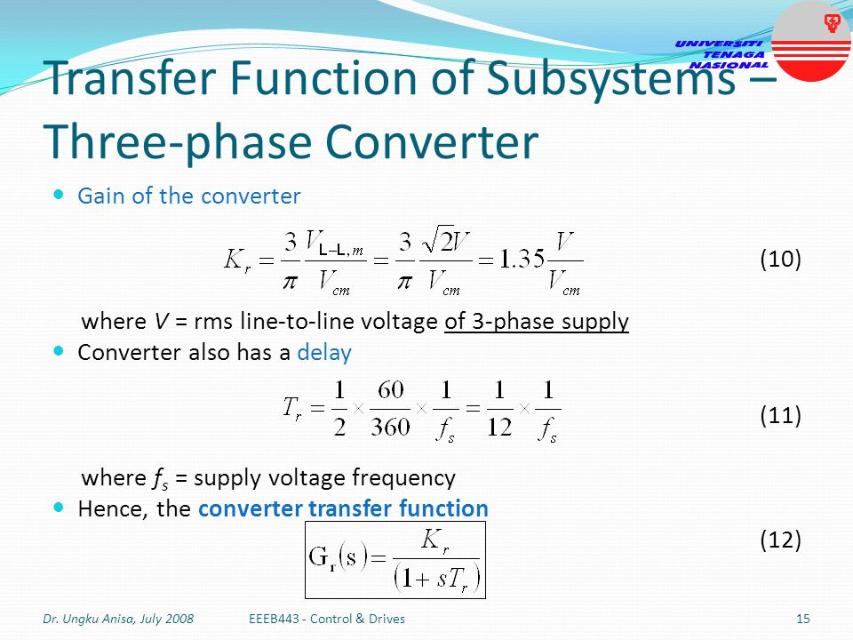 Transfer Function of Subsystems – Three-phase Converter