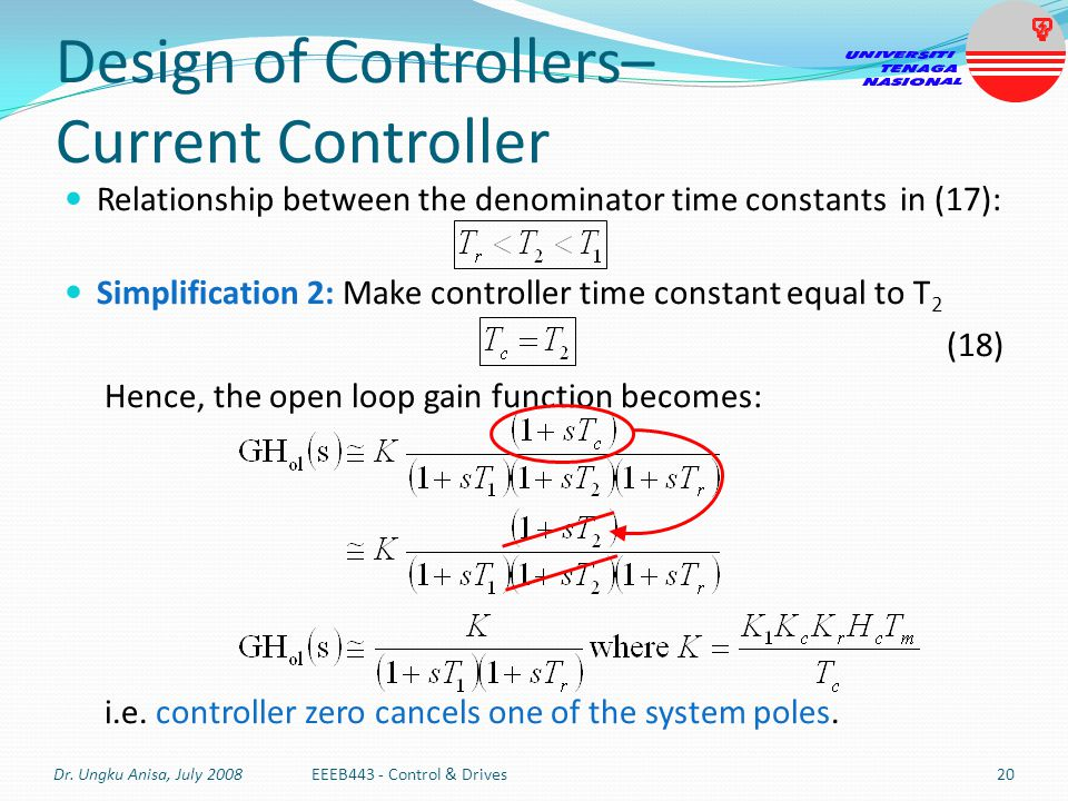 Design of Controllers– Current Controller