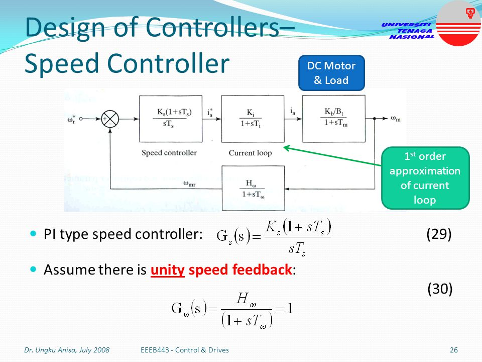 Design of Controllers– Speed Controller