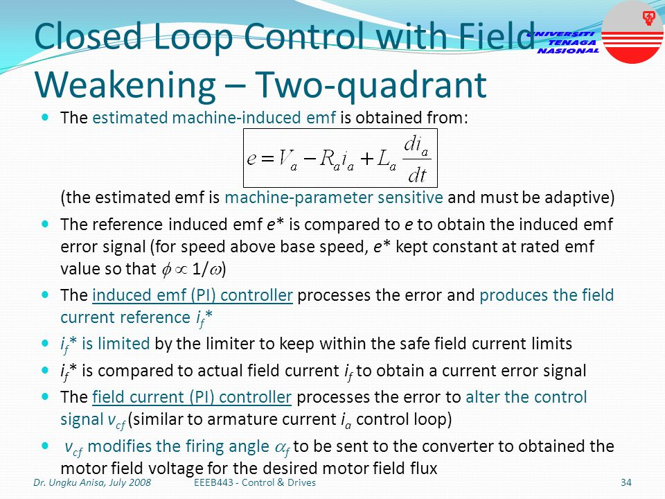 Closed Loop Control with Field Weakening – Two-quadrant