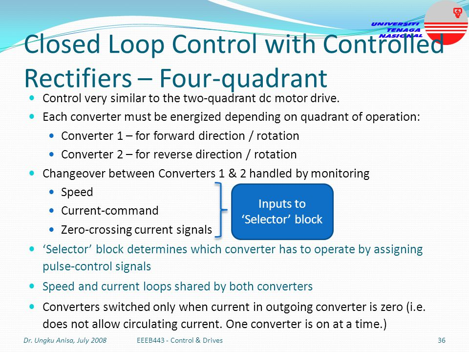 Closed Loop Control with Controlled Rectifiers – Four-quadrant