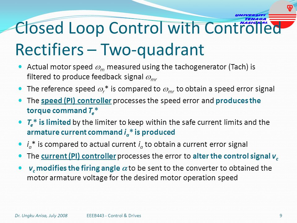 Closed Loop Control with Controlled Rectifiers – Two-quadrant