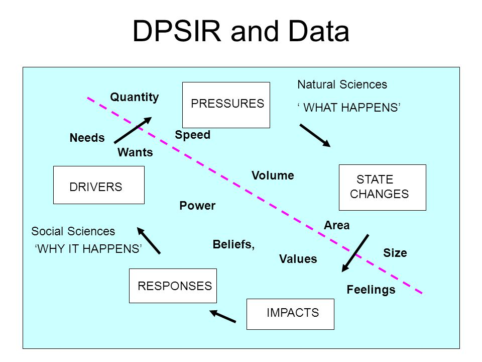 DPSIR and Data Natural Sciences Quantity ' WHAT HAPPENS' PRESSURES