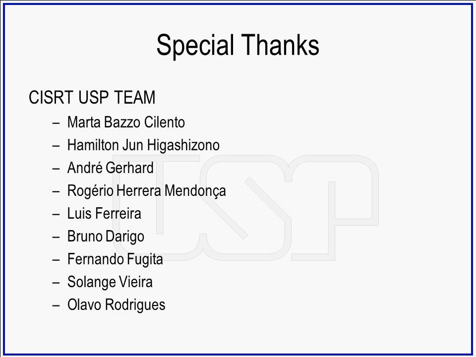 Special Thanks CISRT USP TEAM Marta Bazzo Cilento
