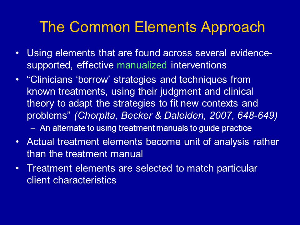 The Common Elements Approach