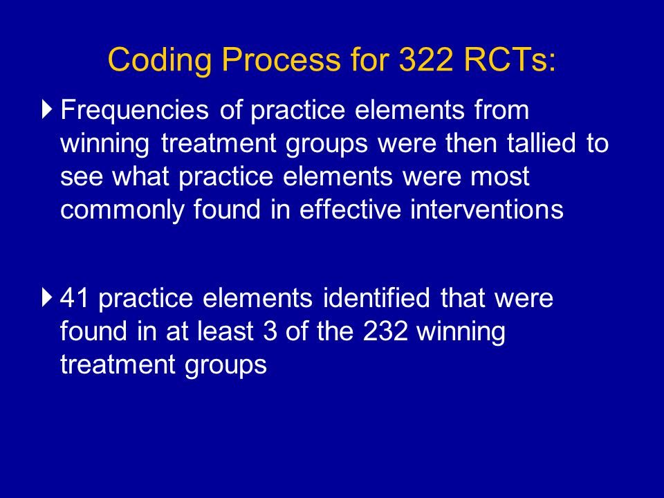 Coding Process for 322 RCTs: