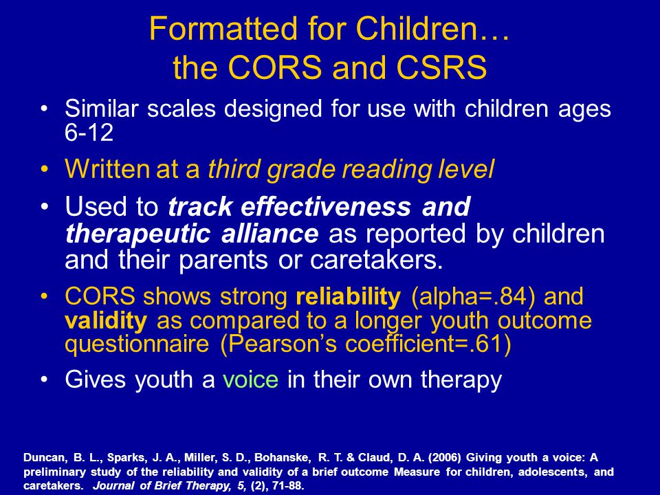 Formatted for Children… the CORS and CSRS