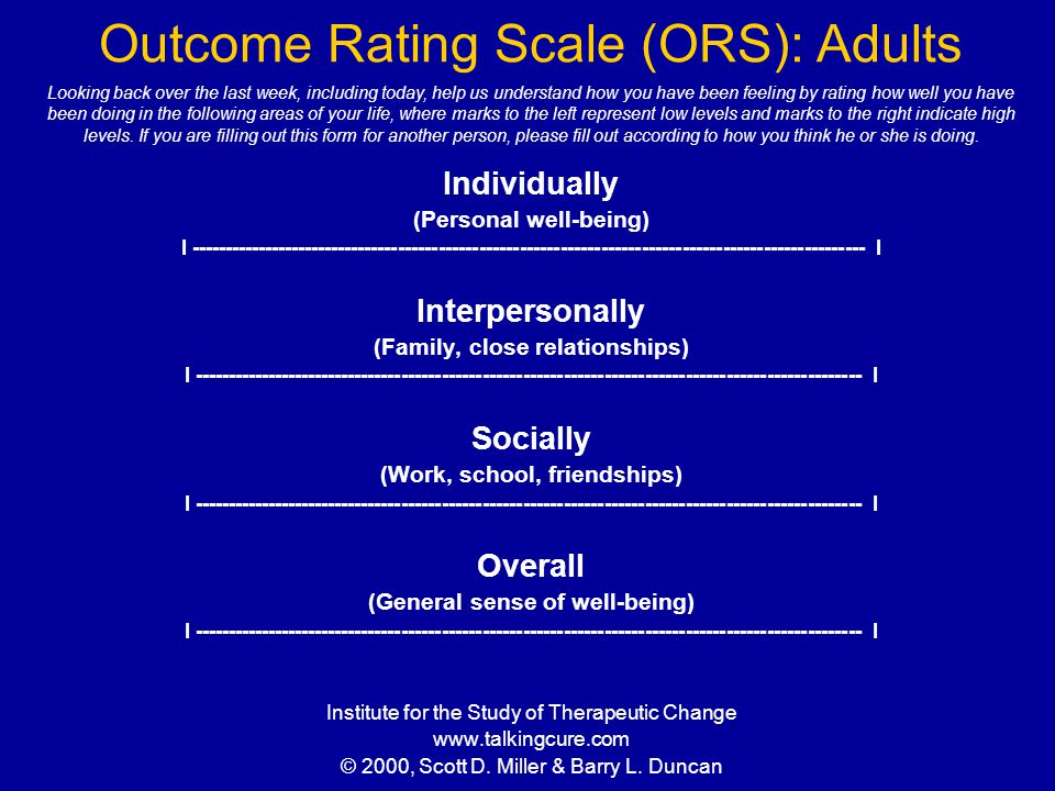 Outcome Rating Scale (ORS): Adults