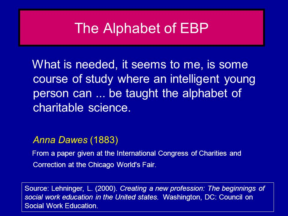 The Alphabet of EBP
