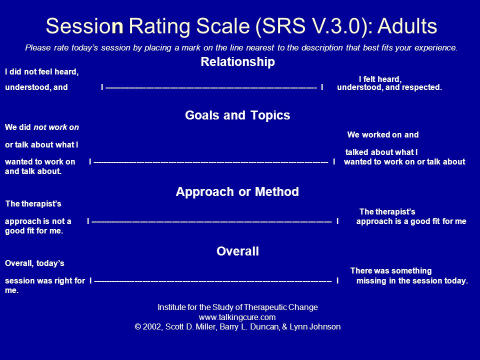 Session Rating Scale (SRS V.3.0): Adults