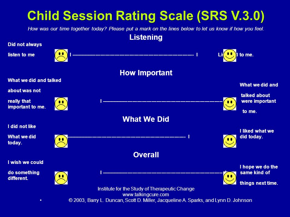 Child Session Rating Scale (SRS V.3.0)