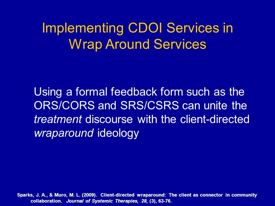 Implementing CDOI Services in Wrap Around Services