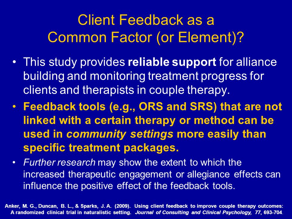 Client Feedback as a Common Factor (or Element)