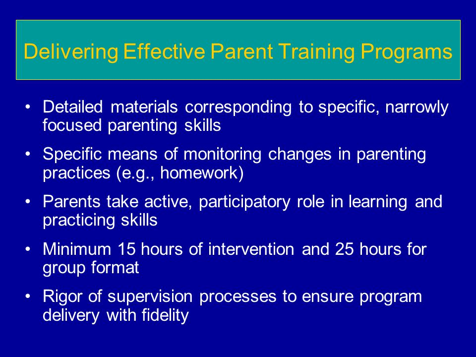 Delivering Effective Parent Training Programs