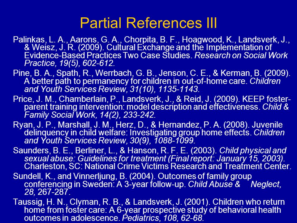 Partial References III