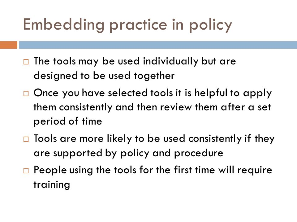 Embedding practice in policy