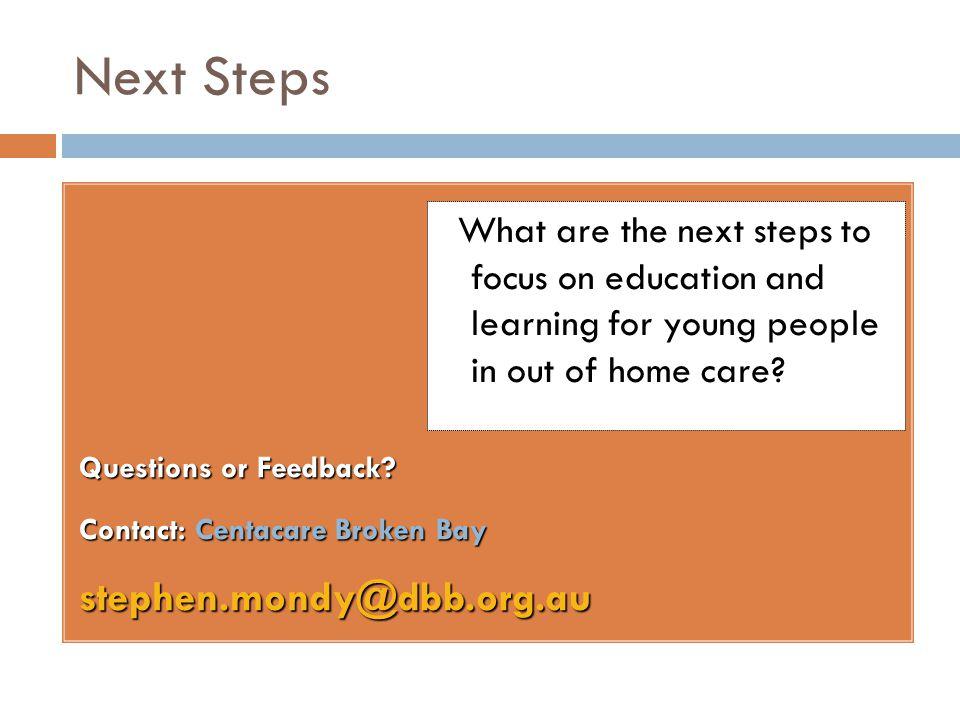 Next Steps stephen.mondy@dbb.org.au