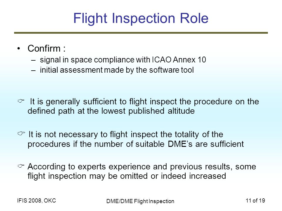 Flight Inspection Role
