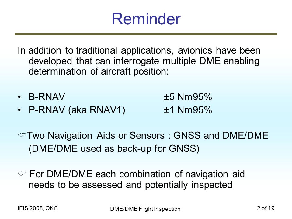 DME/DME Flight Inspection